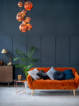 Earth Tone Sofa and Copper Lights